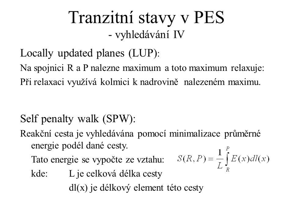 Tranzitní stavy v PES - vyhledávání IV Locally updated planes (LUP) : Na spojnici R a P nalezne maximum a toto maximum relaxuje: Při relaxaci využívá kolmici k nadrovině nalezeném maximu.