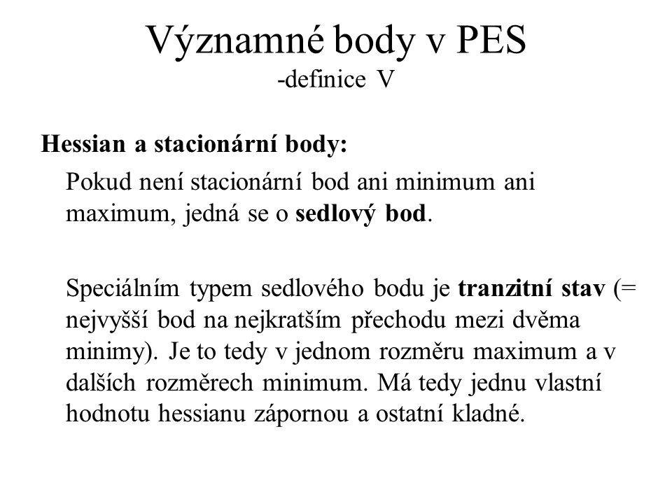 Významné body v PES -definice V Hessian a stacionární body: Pokud není stacionární bod ani minimum ani maximum, jedná se o sedlový bod.