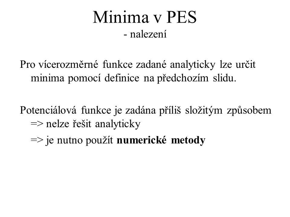 Minima v PES - nalezení Pro vícerozměrné funkce zadané analyticky lze určit minima pomocí definice na předchozím slidu.