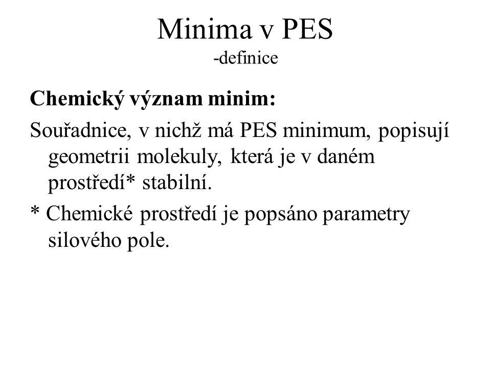 Minima v PES -definice Chemický význam minim: Souřadnice, v nichž má PES minimum, popisují geometrii molekuly, která je v daném prostředí* stabilní. *