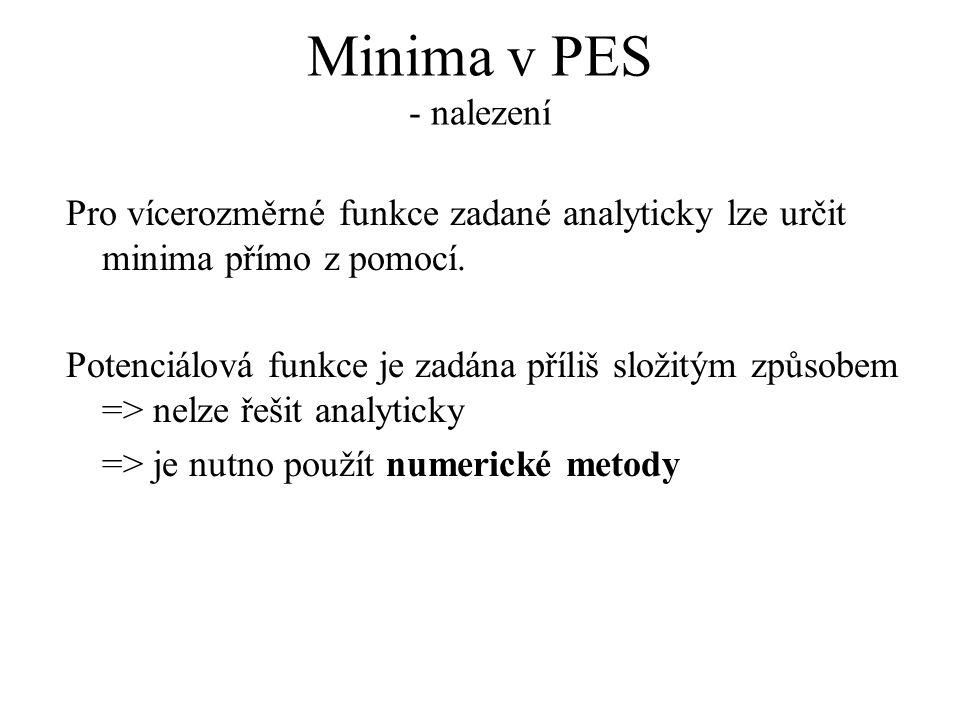 Minima v PES - nalezení Pro vícerozměrné funkce zadané analyticky lze určit minima přímo z pomocí. Potenciálová funkce je zadána příliš složitým způso