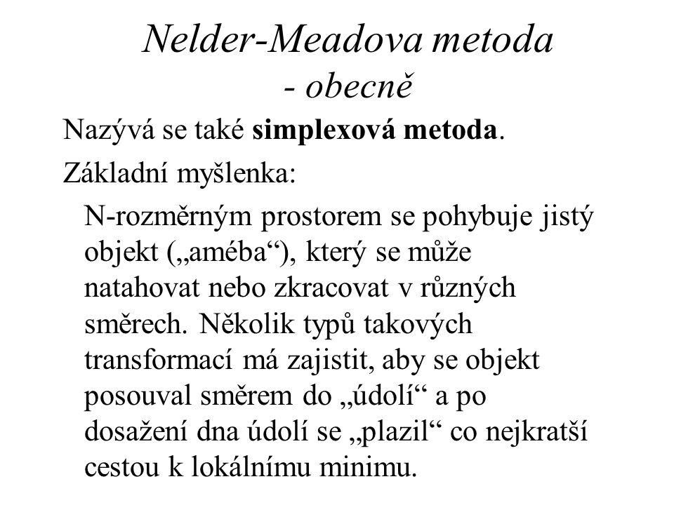 """Nelder-Meadova metoda - obecně Nazývá se také simplexová metoda. Základní myšlenka: N-rozměrným prostorem se pohybuje jistý objekt (""""améba""""), který se"""