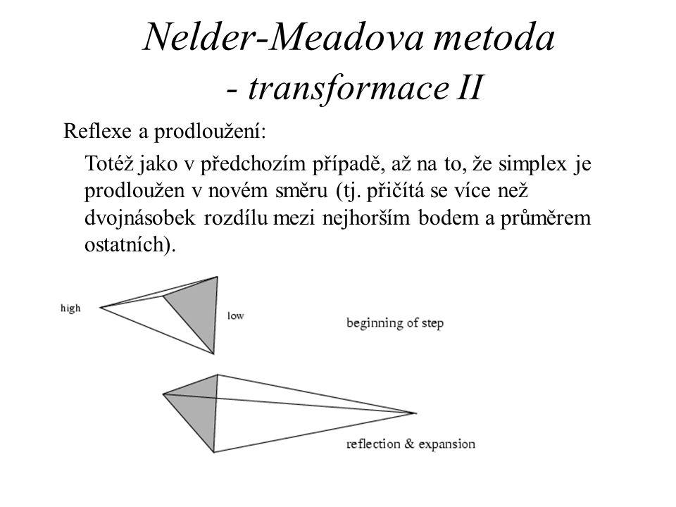 Nelder-Meadova metoda - transformace II Reflexe a prodloužení: Totéž jako v předchozím případě, až na to, že simplex je prodloužen v novém směru (tj.