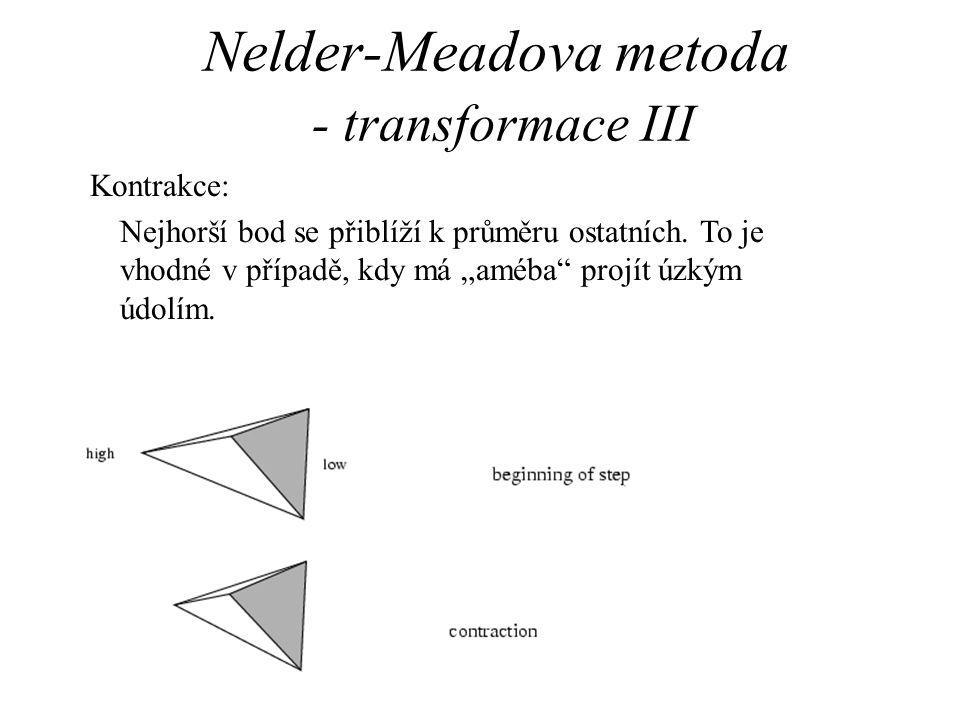 """Nelder-Meadova metoda - transformace III Kontrakce: Nejhorší bod se přiblíží k průměru ostatních. To je vhodné v případě, kdy má """"améba"""" projít úzkým"""