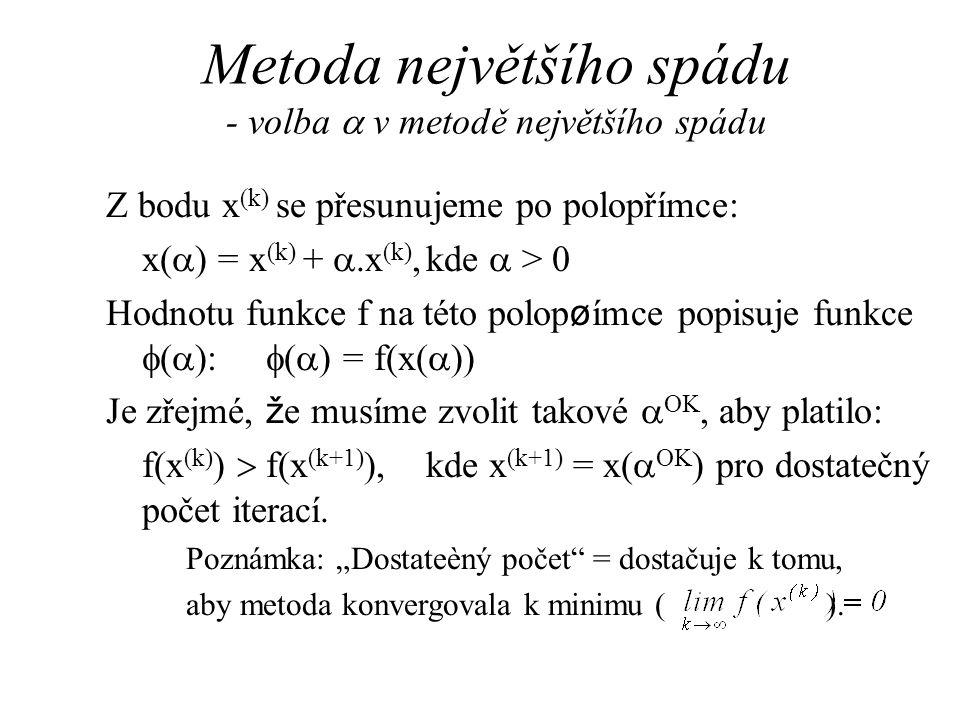 Metoda největšího spádu - volba  v metodě největšího spádu Z bodu x (k) se přesunujeme po polopřímce: x(  ) = x (k) + .x (k),kde  > 0 Hodnotu funk