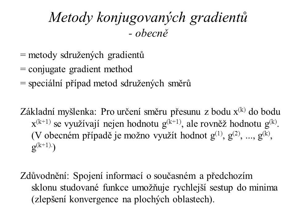 Metody konjugovaných gradientů - obecně = metody sdružených gradientů = conjugate gradient method = speciální případ metod sdružených směrů Základní m