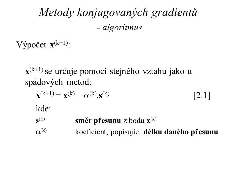 Metody konjugovaných gradientů - algoritmus Výpočet x (k+1) : x (k+1) se určuje pomocí stejného vztahu jako u spádových metod: x (k+1) = x (k) +  (k)