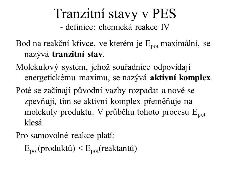 Tranzitní stavy v PES - definice: chemická reakce IV Bod na reakční křivce, ve kterém je E pot maximální, se nazývá tranzitní stav. Molekulový systém,