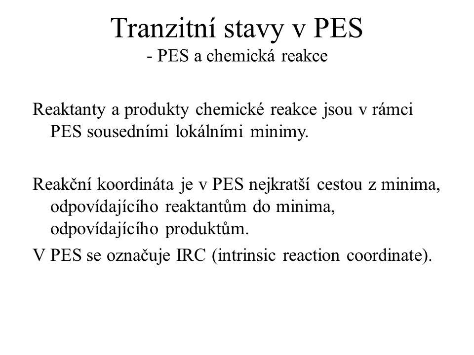 Tranzitní stavy v PES - PES a chemická reakce Reaktanty a produkty chemické reakce jsou v rámci PES sousedními lokálními minimy. Reakční koordináta je