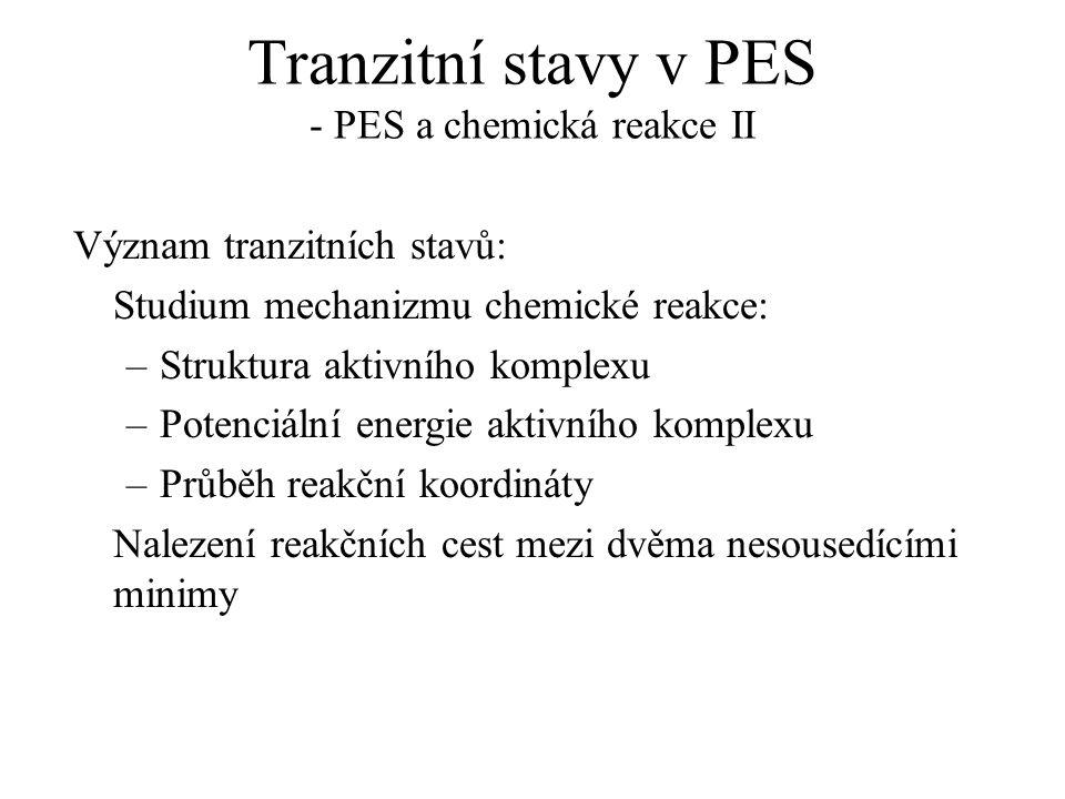 Tranzitní stavy v PES - PES a chemická reakce II Význam tranzitních stavů: Studium mechanizmu chemické reakce: –Struktura aktivního komplexu –Potenciá