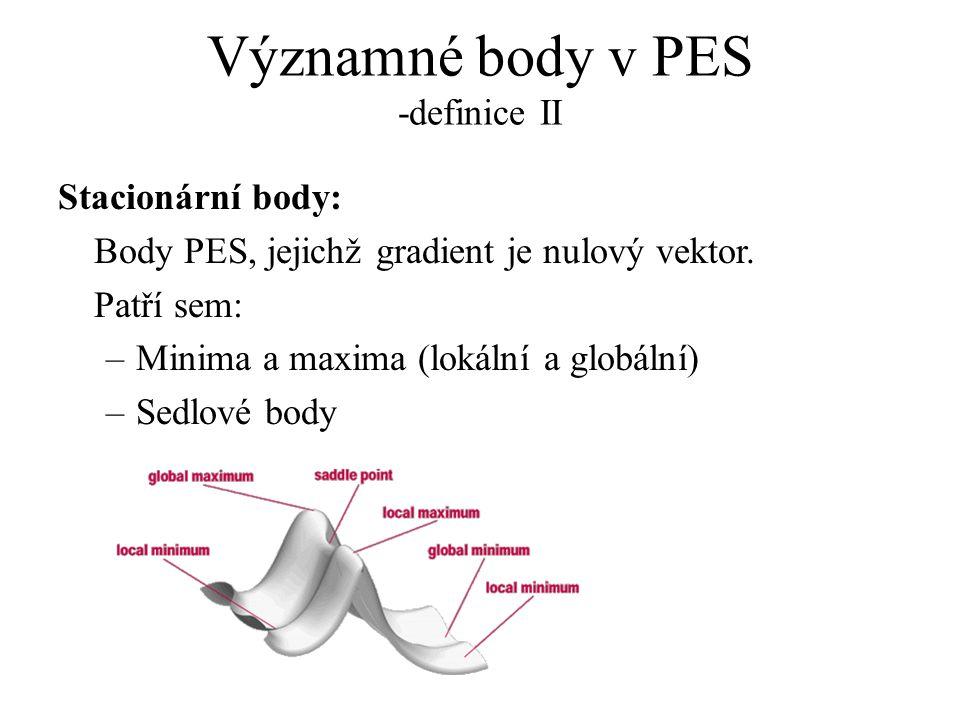 Významné body v PES -definice II Stacionární body: Body PES, jejichž gradient je nulový vektor. Patří sem: –Minima a maxima (lokální a globální) –Sedl