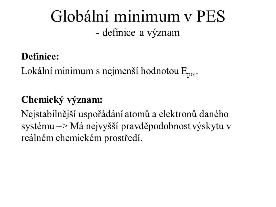 Globální minimum v PES - definice a význam Definice: Lokální minimum s nejmenší hodnotou E pot. Chemický význam: Nejstabilnější uspořádání atomů a ele