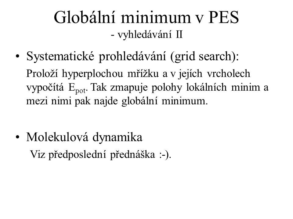 Globální minimum v PES - vyhledávání II Systematické prohledávání (grid search): Proloží hyperplochou mřížku a v jejích vrcholech vypočítá E pot. Tak