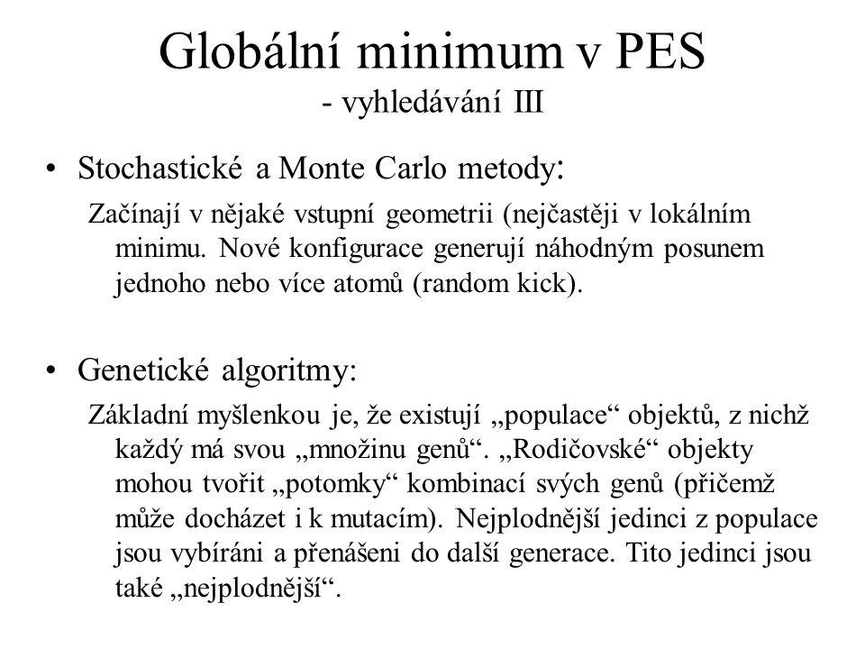 Globální minimum v PES - vyhledávání III Stochastické a Monte Carlo metody : Začínají v nějaké vstupní geometrii (nejčastěji v lokálním minimu. Nové k