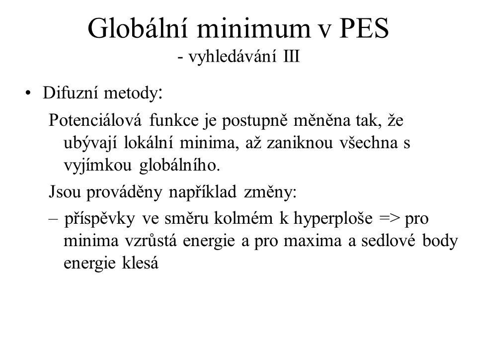 Globální minimum v PES - vyhledávání III Difuzní metody : Potenciálová funkce je postupně měněna tak, že ubývají lokální minima, až zaniknou všechna s