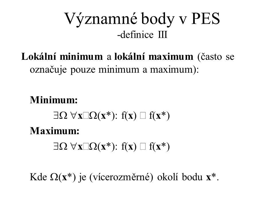 Významné body v PES -definice III Lokální minimum a lokální maximum (často se označuje pouze minimum a maximum): Minimum:  x  (x*): f(x)  f(x*
