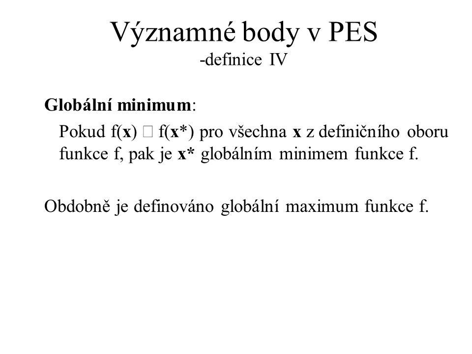 Významné body v PES -definice IV Globální minimum: Pokud f(x)  f(x*) pro všechna x z definičního oboru funkce f, pak je x* globálním minimem funkce