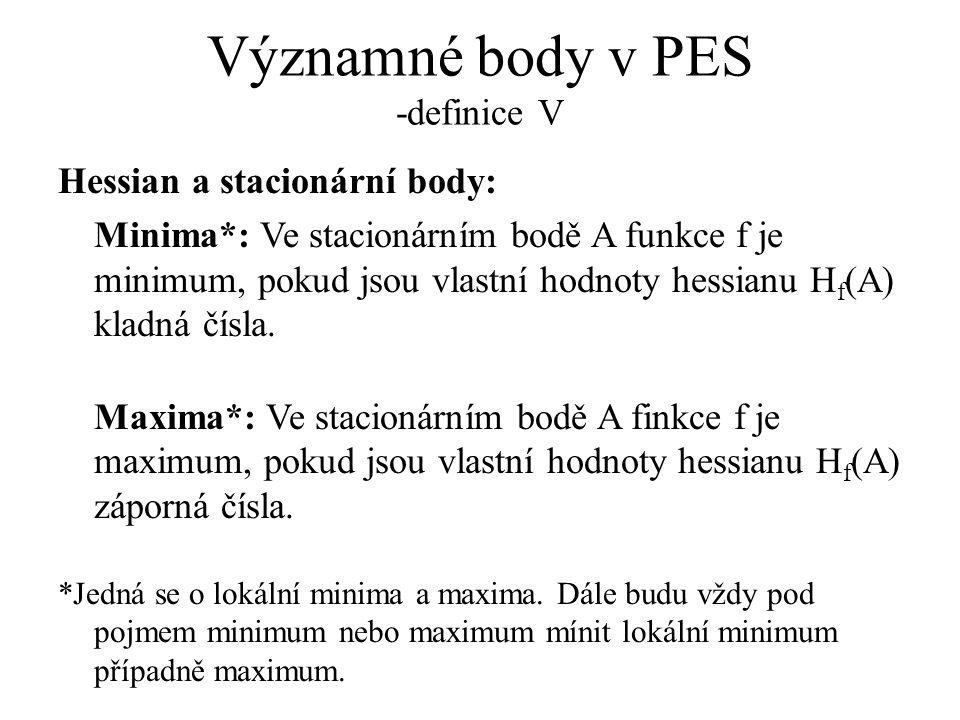 Významné body v PES -definice V Hessian a stacionární body: Minima*: Ve stacionárním bodě A funkce f je minimum, pokud jsou vlastní hodnoty hessianu H