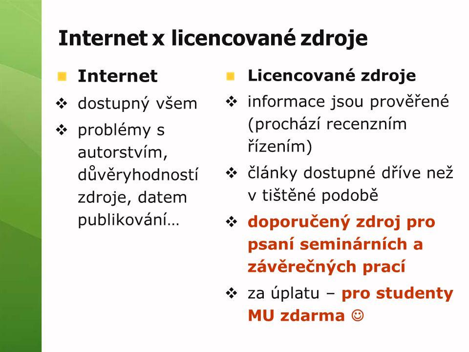 Internet x licencované zdroje Licencované zdroje  informace jsou prověřené (prochází recenzním řízením)  články dostupné dříve než v tištěné podobě  doporučený zdroj pro psaní seminárních a závěrečných prací  za úplatu – pro studenty MU zdarma Internet  dostupný všem  problémy s autorstvím, důvěryhodností zdroje, datem publikování…