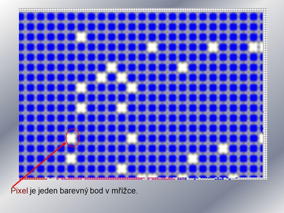 Rastrový obrázek je tedy posloupnost bodů (pixelů) rozmístěných v mřížce.