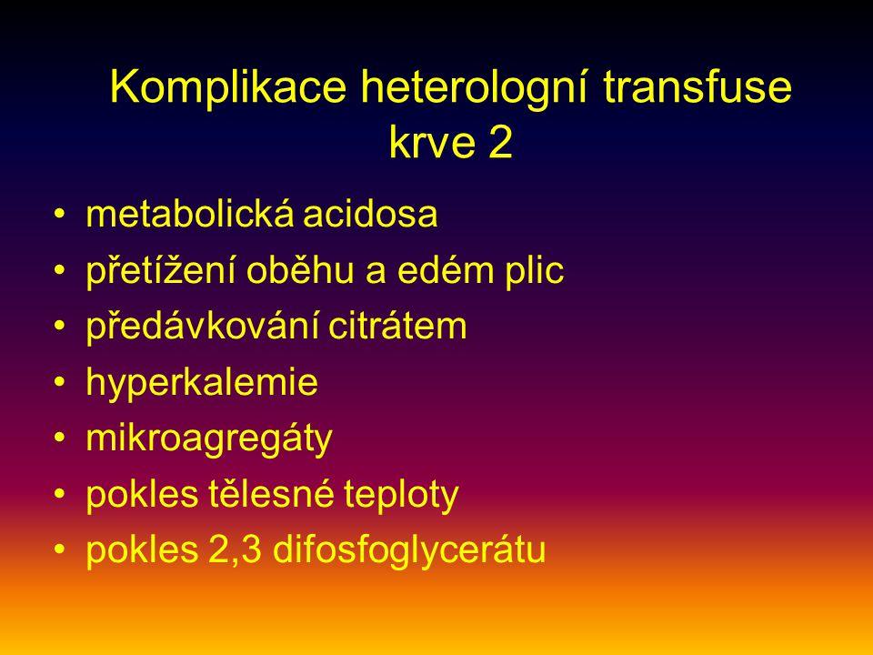 Komplikace heterologní transfuse krve 2 metabolická acidosa přetížení oběhu a edém plic předávkování citrátem hyperkalemie mikroagregáty pokles tělesn