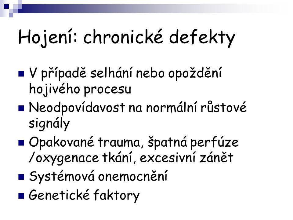 Hojení: chronické defekty V případě selhání nebo opoždění hojivého procesu Neodpovídavost na normální růstové signály Opakované trauma, špatná perfúze