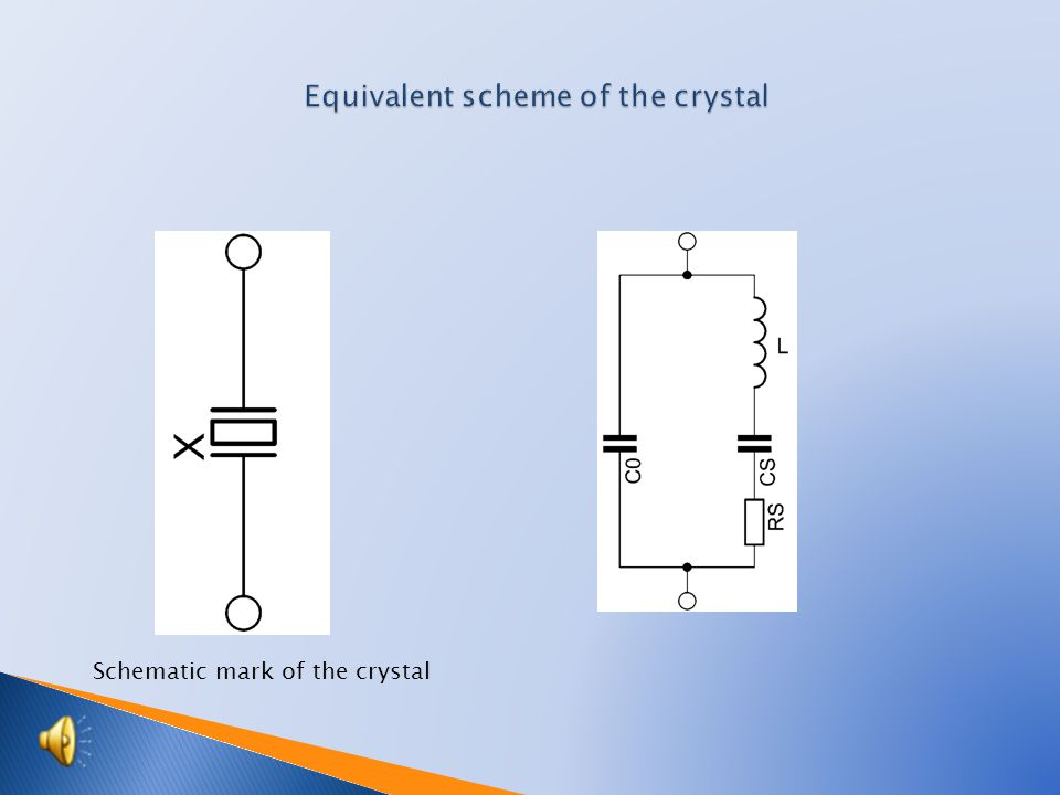  Scheme of crystal, equivalent connection  Control circuit of the oscillator  Scheme with serial resonance of the crystal  Scheme with a parallel resonance of the crystal  Characteristic of oscillators controlled by crystal  Students activities