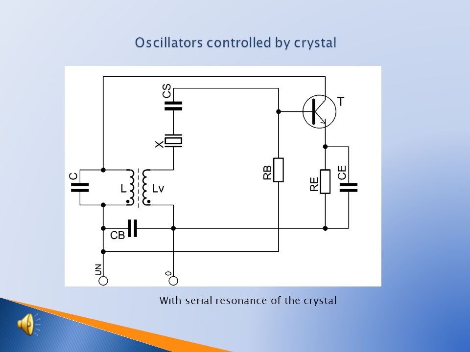  The controlled circuit of the oscillator controlled by crystal made up a desk from quartz crystal.