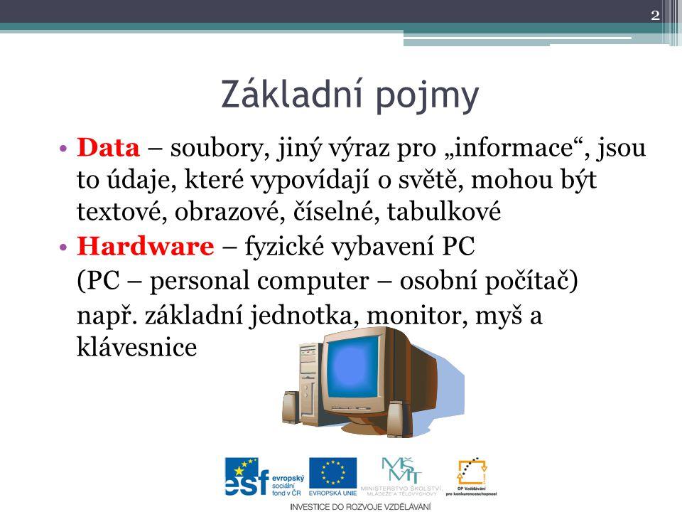 """Základní pojmy Data – soubory, jiný výraz pro """"informace , jsou to údaje, které vypovídají o světě, mohou být textové, obrazové, číselné, tabulkové Hardware – fyzické vybavení PC (PC – personal computer – osobní počítač) např."""