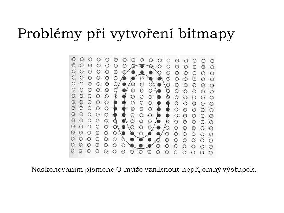 Problémy při vytvoření bitmapy Naskenováním písmene O může vzniknout nepříjemný výstupek.