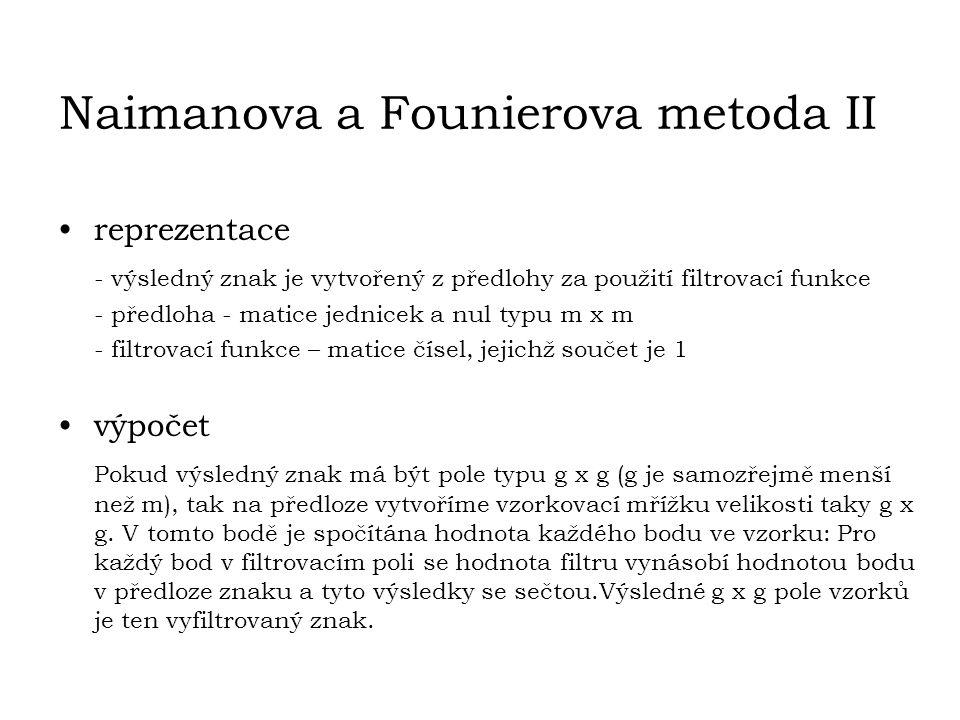 Naimanova a Founierova metoda II reprezentace - výsledný znak je vytvořený z předlohy za použití filtrovací funkce - předloha - matice jednicek a nul