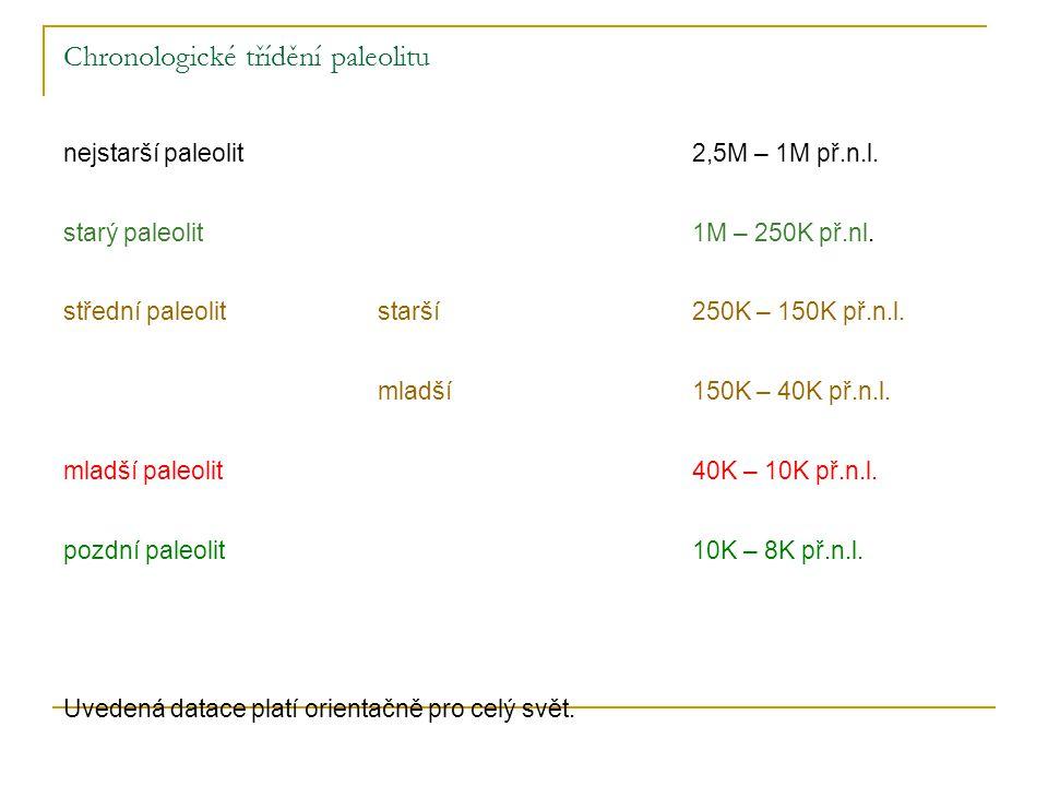 Chronologické třídění paleolitu nejstarší paleolit2,5M – 1M př.n.l.