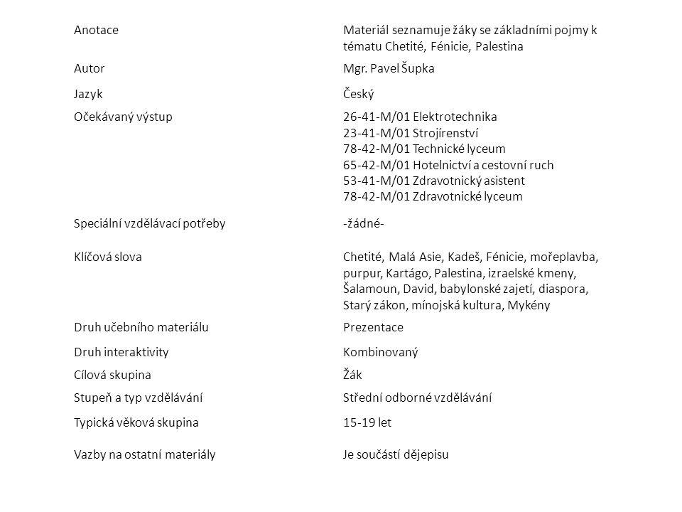 AnotaceMateriál seznamuje žáky se základními pojmy k tématu Chetité, Fénicie, Palestina AutorMgr. Pavel Šupka JazykČeský Očekávaný výstup26-41-M/01 El