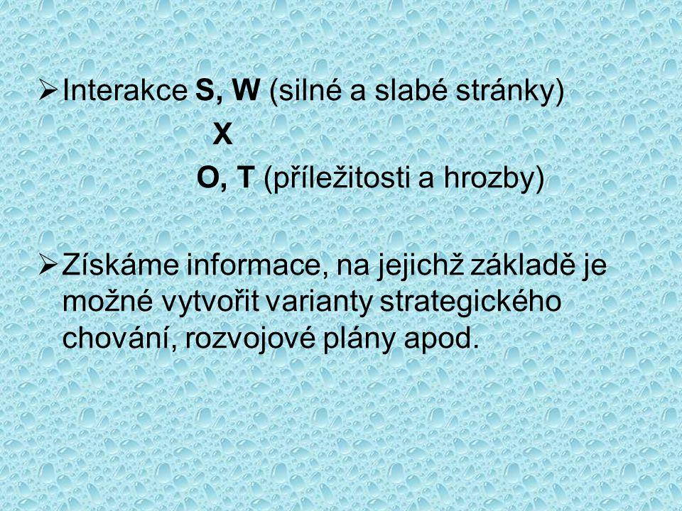 SWOT- analýza Interní analýza Silné stránkySlabé stránky ExterníanalýzaExterníanalýza Příležitosti S-O-Strategie: Využití silných stránek a příležitostí W-O-Strategie: Odstranění slabin pro vznik nových příležitostí Hrozby S-T-Strategie: Použití silných stránek pro zamezení hrozeb W-T-Strategie: Vývoj strategií, díky nimž je možné omezit hrozby, ohrožující naše slabé stránky