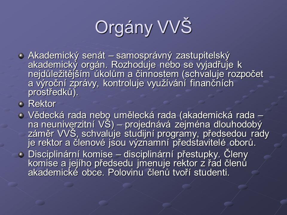 Orgány VVŠ Akademický senát – samosprávný zastupitelský akademický orgán. Rozhoduje nebo se vyjadřuje k nejdůležitějším úkolům a činnostem (schvaluje
