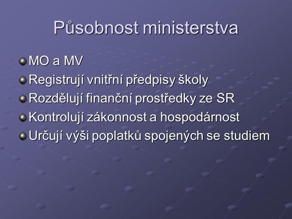 Působnost ministerstva MO a MV Registrují vnitřní předpisy školy Rozdělují finanční prostředky ze SR Kontrolují zákonnost a hospodárnost Určují výši p
