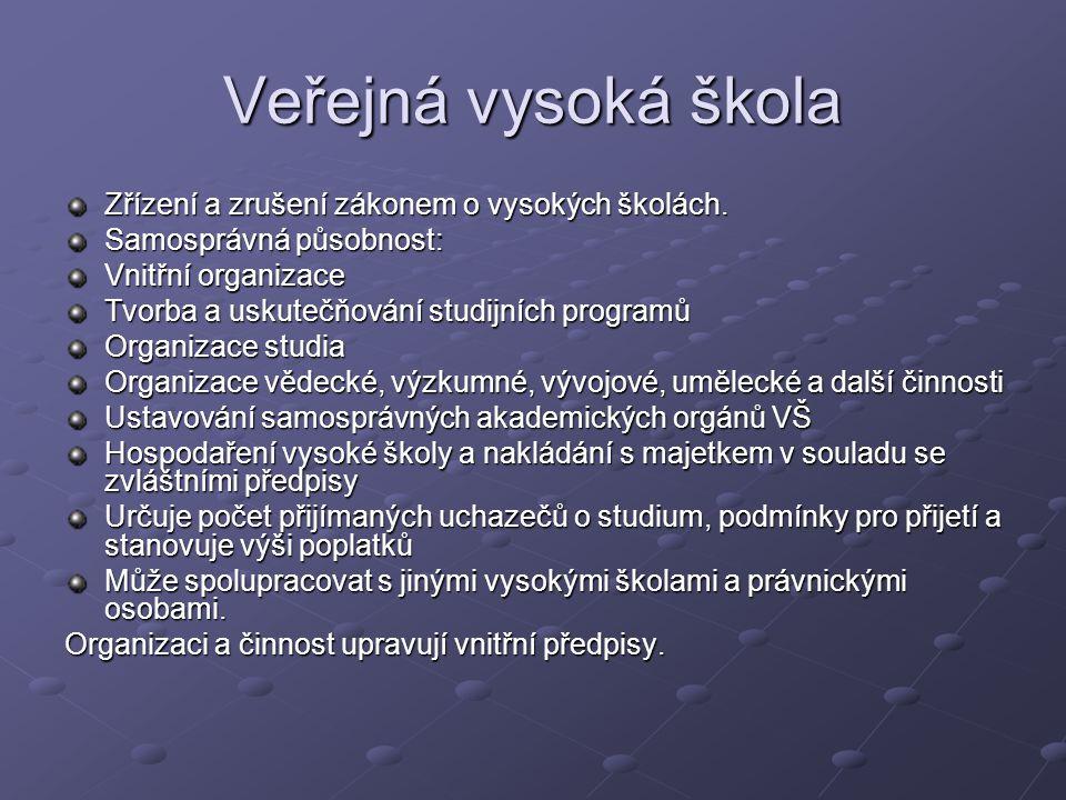 Povinnosti VVS a působnost ministerstva Výroční zpráva (předložit MŠMT) Zveřejnit výroční zprávu a výroční zprávu o hospodaření vysoké školy.
