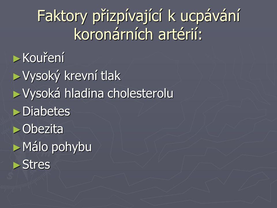 Faktory přizpívající k ucpávání koronárních artérií: ► Kouření ► Vysoký krevní tlak ► Vysoká hladina cholesterolu ► Diabetes ► Obezita ► Málo pohybu ► Stres