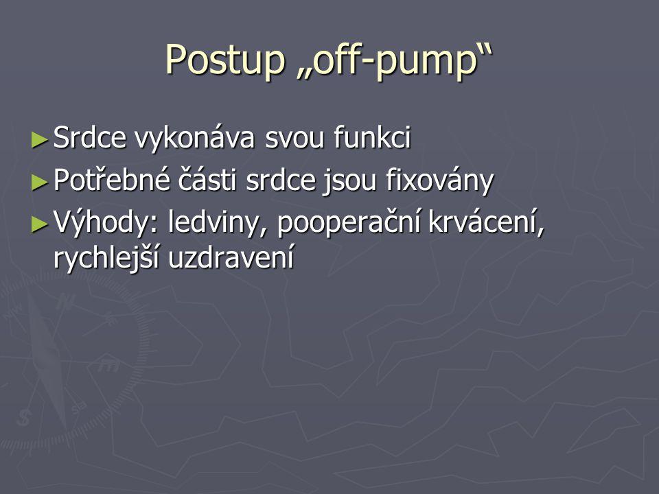 """Postup """"off-pump ► Srdce vykonáva svou funkci ► Potřebné části srdce jsou fixovány ► Výhody: ledviny, pooperační krvácení, rychlejší uzdravení"""