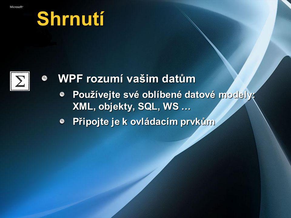 Shrnutí Shrnutí WPF rozumí vašim datům Používejte své oblíbené datové modely: XML, objekty, SQL, WS … Připojte je k ovládacím prvkům
