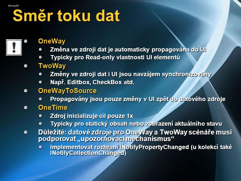 Směr toku dat OneWay Změna ve zdroji dat je automaticky propagována do UI Typicky pro Read-only vlastnosti UI elementů TwoWay Změny ve zdroji dat i UI