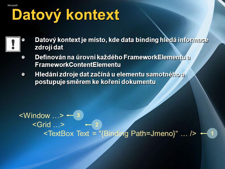 Datový kontext Datový kontext je místo, kde data binding hledá informace zdroji dat Definován na úrovni každého FrameworkElementu a FrameworkContentEl