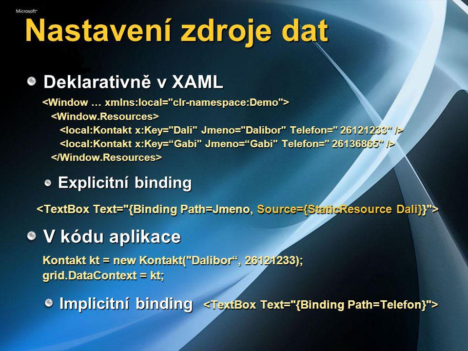 Nastavení zdroje dat Deklarativně v XAML Deklarativně v XAML Explicitní binding Explicitní binding V kódu aplikace V kódu aplikace Kontakt kt = new Ko
