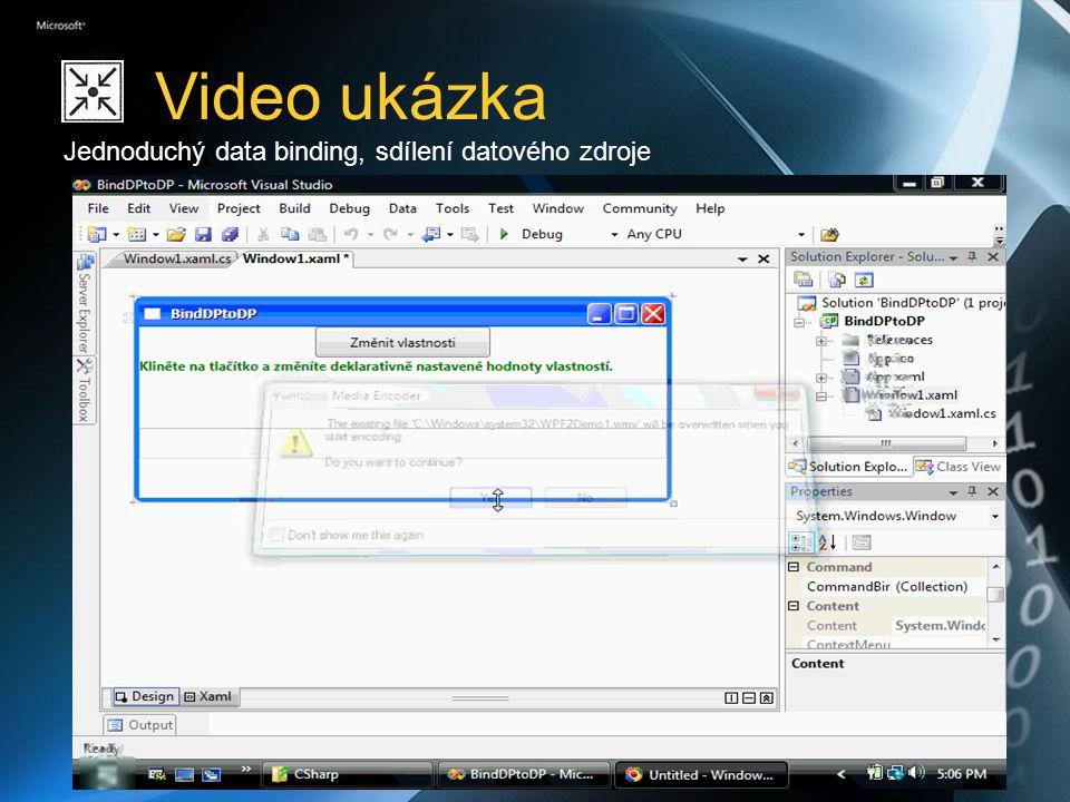 Objektový datový zdroj ObjectDataProvider umožňuje provést instanci libovolného typu v XAML kódu a vytvořit z něj datový zdroj Možnost spuštění konstruktoru ve vlastním threadu <ObjectDataProvider x:Key= mojeData ObjectType= {x:Type local:Data} IsAsynchronous= true /> … <TextBlock TextContent= {Binding Path=Jmeno, Source={StaticResource mojeData} } />
