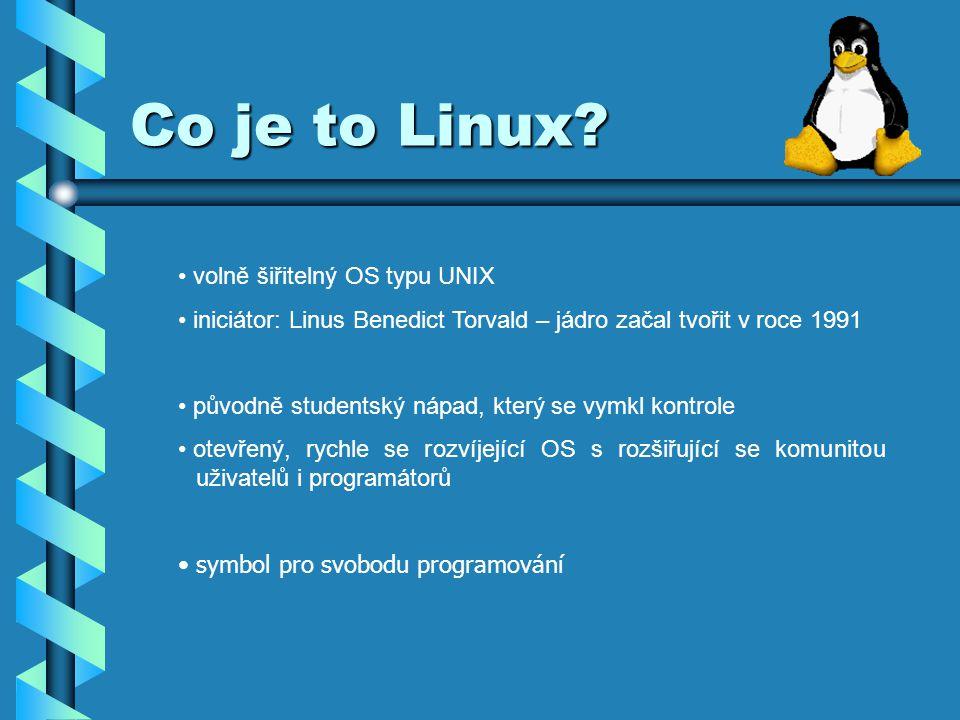 Hardware Požadavky Linuxu na hardware: CPU kompatibilní s i386.