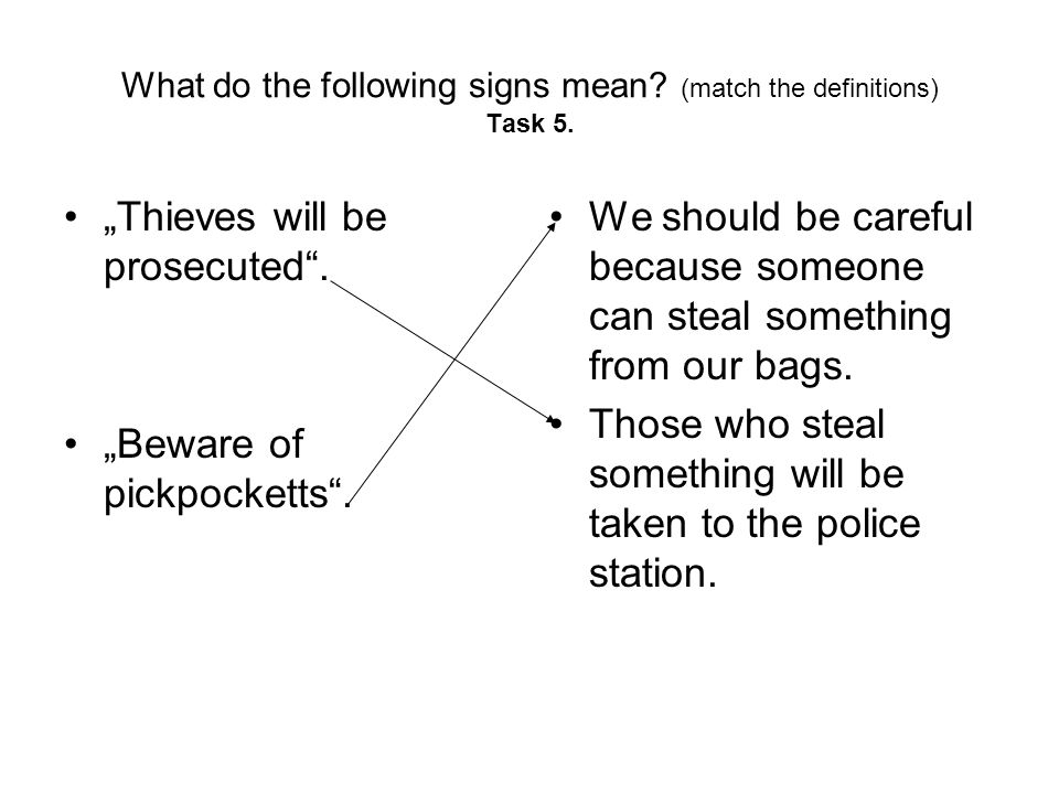 What do the following signs mean. (match the definitions) Task 5.