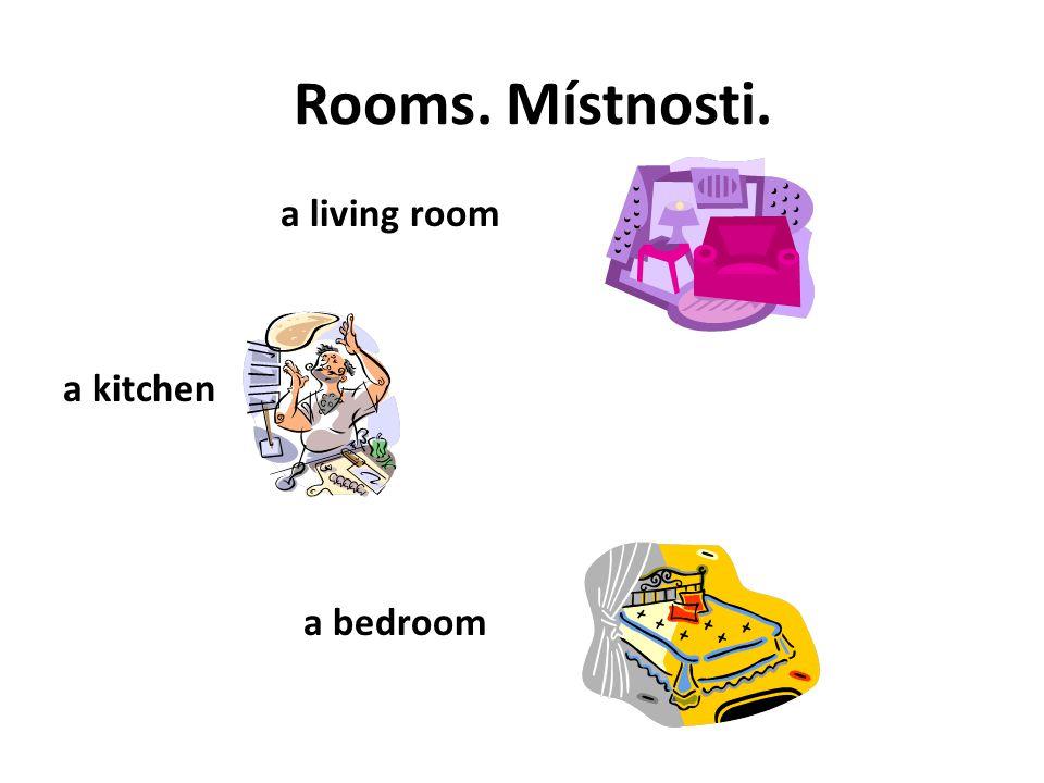 Rooms. Místnosti. a children room a bathroom a toilet