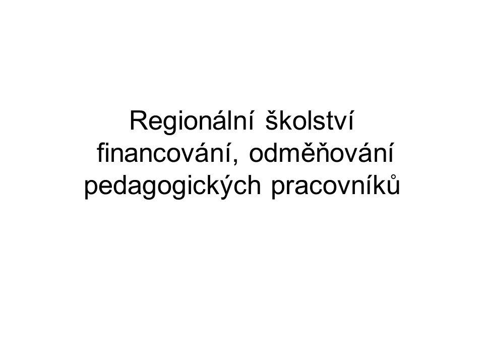Regionální školství financování, odměňování pedagogických pracovníků