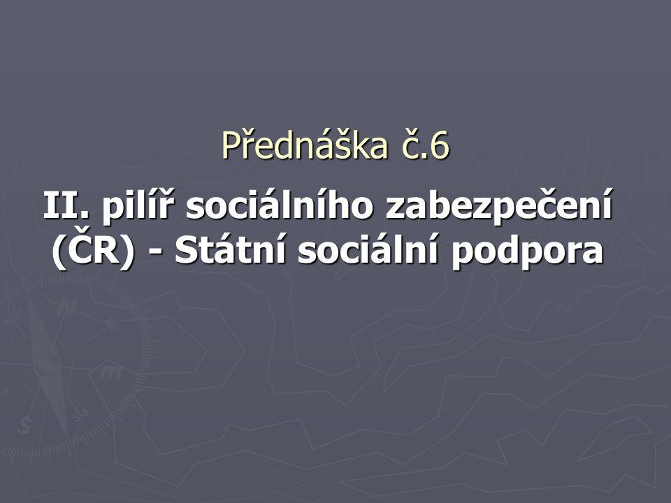 Přednáška č.6 II. pilíř sociálního zabezpečení (ČR) - Státní sociální podpora