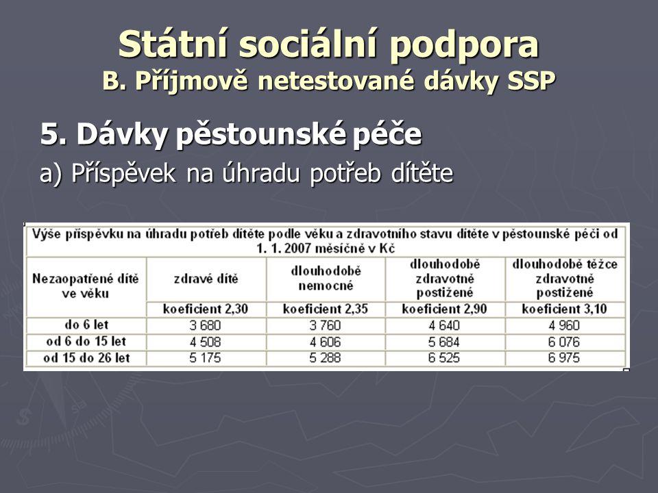 Státní sociální podpora B. Příjmově netestované dávky SSP 5. Dávky pěstounské péče a) Příspěvek na úhradu potřeb dítěte